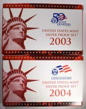 2003 & 2004 Silver Proof Sets.