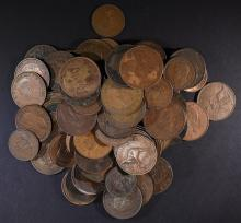 100-LARGE FOREIGN COPPER COINS VARIOUS COUNTRIES