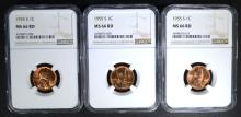3 - 1955 S LINCOLN CENTS NGC MS66 RD
