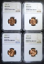 2 - 1958 D & 2 - 1958 LINCOLN CENTS