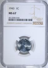 1943 LINCOLN STEEL CENT, NGC MS-67