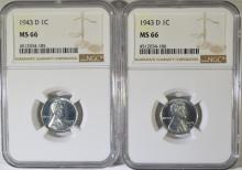 ( 2 ) 1943-D LINCOLN STEEL CENTS, NGC MS-66