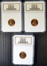 1938, 1939 & 1942 LINCOLN CENTS, NGC MS-66 RED