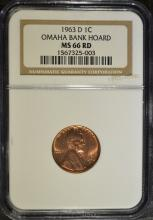 1963-D LINCOLN CENT, NGC MS-66 RED