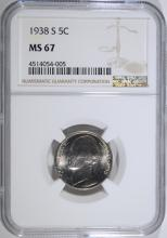 1938-S JEFFERSON NICKEL, NGC MS-67  FIRST YEAR OF JEFFERSON