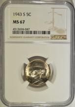 1943-S JEFFERSON NICKEL NGC MS67