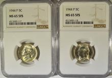 (2) 1944-P JEFFERSON NICKELS NGC MS65 5 FULL STEPS