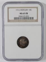 1916 MERCURY DIME, NGC MS-65 FULL BANDS