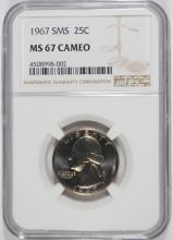 1967 SMS WASHINGTON QUARTER, NGC MS-67 CAMEO!