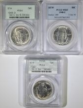 PCGS GRADED 1948 BTW COMMEM HALF DOLLAR SET: 48 & 48-D MS-64 , 48-S MS-65