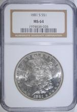 1881-S MORGAN SILVER DOLLAR, NGC MS-64