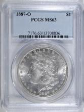 1887-O MORGAN SILVER DOLLAR, PCGS MS-63 BETTER DATE!