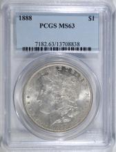 1888 MORGAN SILVER DOLLAR, PCGS MS-63