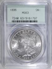 1896 MORGAN SILVER DOLLAR, PCGS MS-63 GREEN LABEL