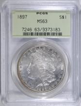 1897 MORGAN SILVER DOLLAR, PCGS MS-63 GREEN LABEL