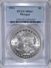 1921 MORGAN SILVER DOLLAR, PCGS MS-63