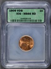 1909 VDB LINCOLN CENT, ICG MS-66 RED!