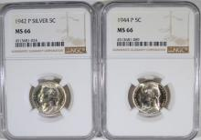 1942-P SILVER & 1944-P  JEFFERSON NICKELS BOTH NGC MS 66