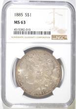 1885 MORGAN SILVER DOLLAR, NGC MS-63