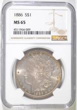 1886 MORGAN SILVER DOLLAR, NGC MS-65