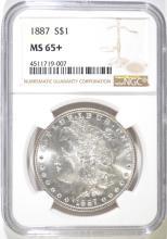 1887 MORGAN SILVER DOLLAR, NGC MS-65+