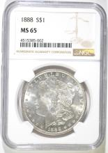 1888 MORGAN SILVER DOLLAR, NGC MS-65