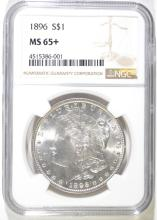 1896 MORGAN SILVER DOLLAR, NGC MS-65+