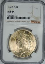 1922 PEACE SILVER DOLLAR, NGC MS-64
