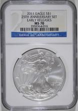 2011 25th ANNIVERSARY AMERICAN SILVER EAGLE,  NGC MS-70