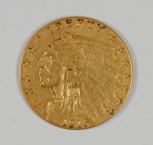 1915 $2.50 GOLD INDIAN, XF/AU