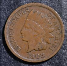 1908-S INDIAN HEAD CENT, VG/FINE  KEY DATE