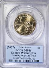 2007 GEORGE WASHINGTON DOLLAR MINT ERROR PCGS MS-66