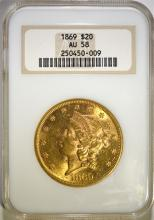 1869 $20.00 GOLD, NGC AU-58 RARE!!  POPULATION OF ONLY 81