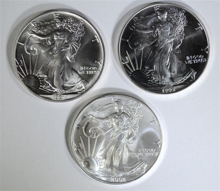 1991, 1992 & 2002 BU AMERICAN SILVER EAGLES
