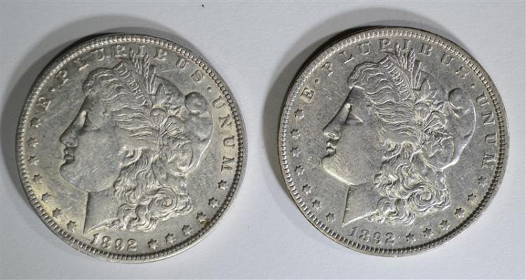 1892-O XF/AU & 1892 AU MORGAN DOLLARS