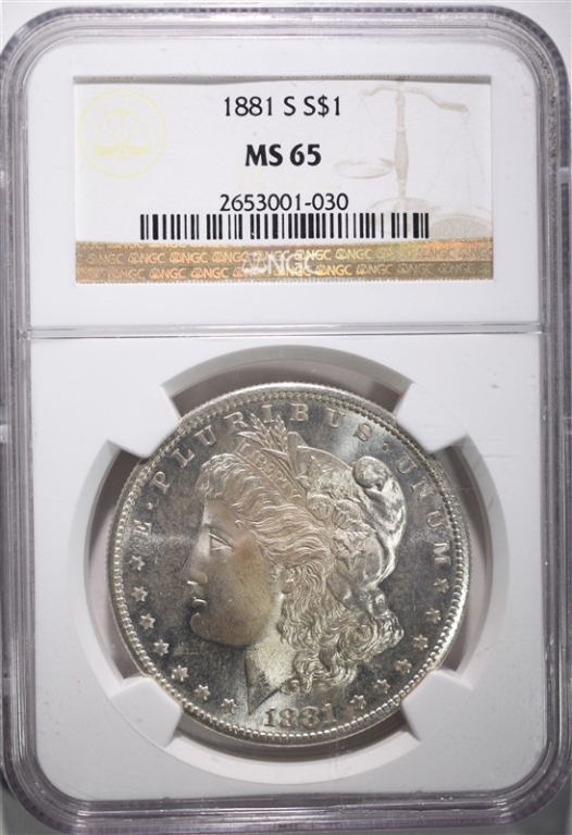 1881-S MORGAN DOLLAR NGC MS 65