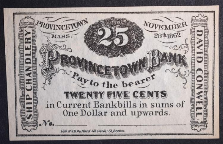 1862 25 CENTS PROVINCETOWN BANK MASS.
