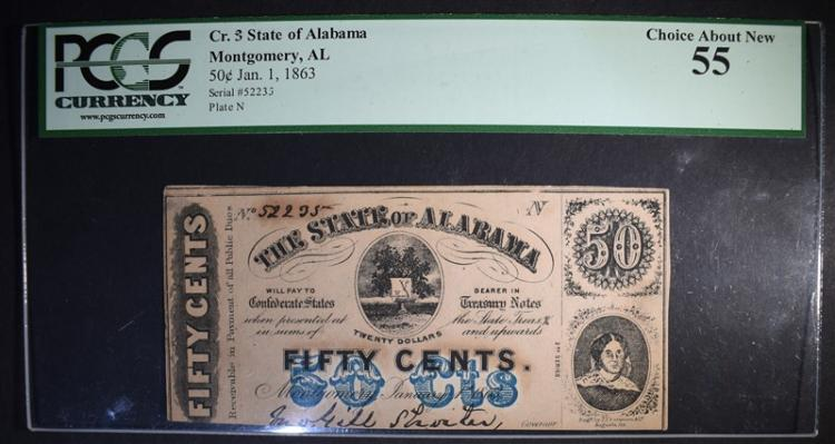 1863 FIFTY CENTS STATE OF ALABAMA PCGS 55