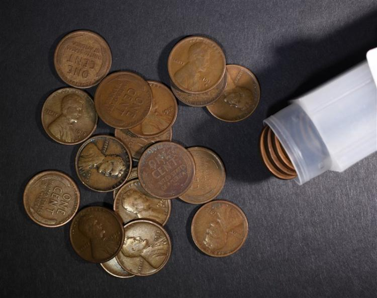 ROLL OF 50-1913-S LINCOLN CENTS: G-F