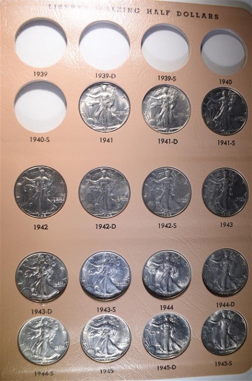 1941-47 SET WALKING LIBERTY HALF DOLLARS BU