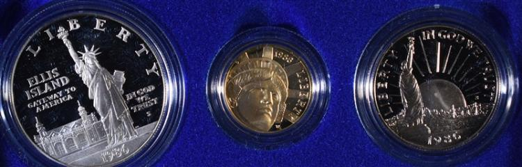 1986 Liberty 3-Piece Silver and Gold Set