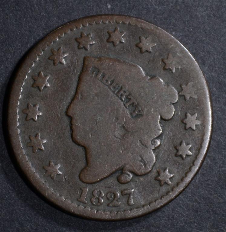 1827 LARGE CENT, GOOD/VG KEY DATE