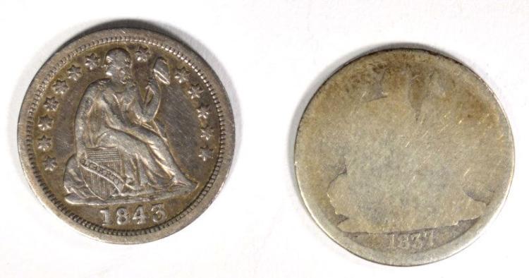 1837 SEATED DIME AG/G, KEY DATE &