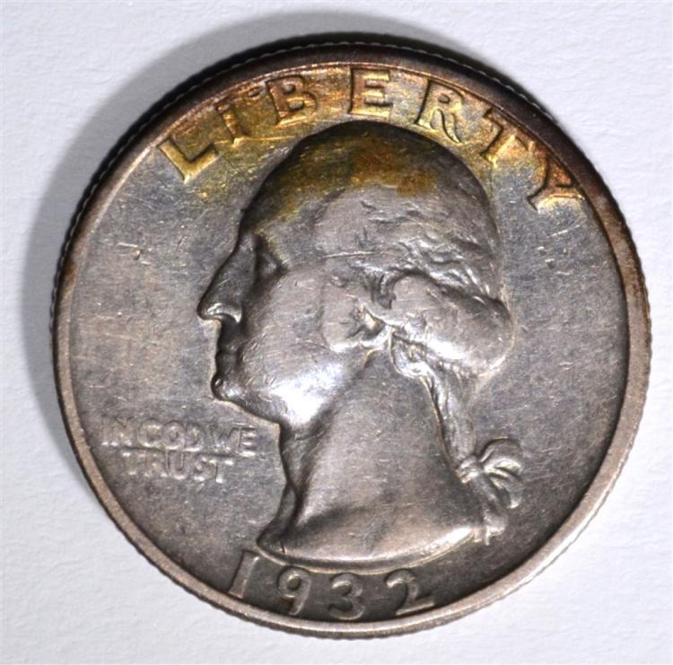 1932-S WASHINGTON QUARTER, XF KEY COIN