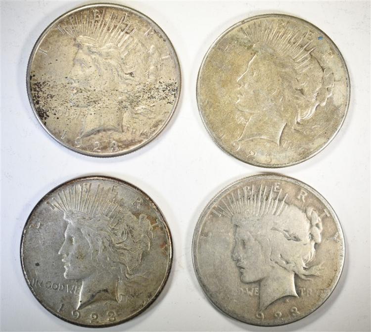 4-CIRC 1923-S PEACE DOLLARS