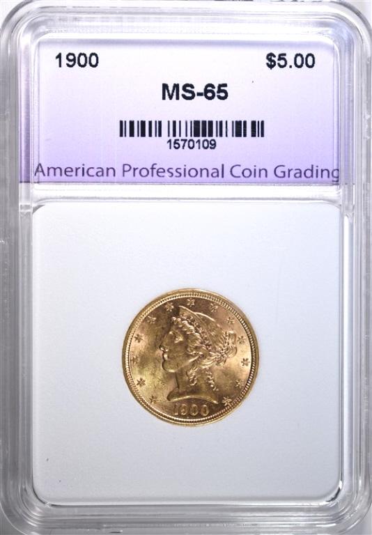 1900 $5.00 GOLD LIBERTY, APCG, GEM BU NICE!