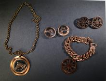 VINTAGE COPPER JEWELRY LOT; HORSE