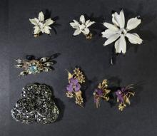 VINTAGE PIN & EARRING LOT, WEISS PIN
