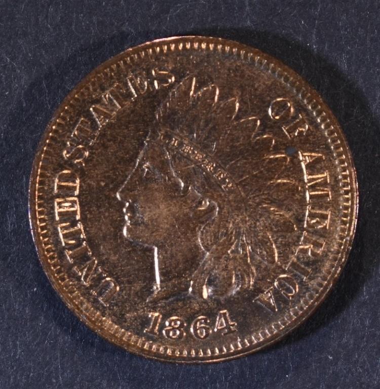 1864 INDIAN HEAD CENT L ON RIB GEM RED