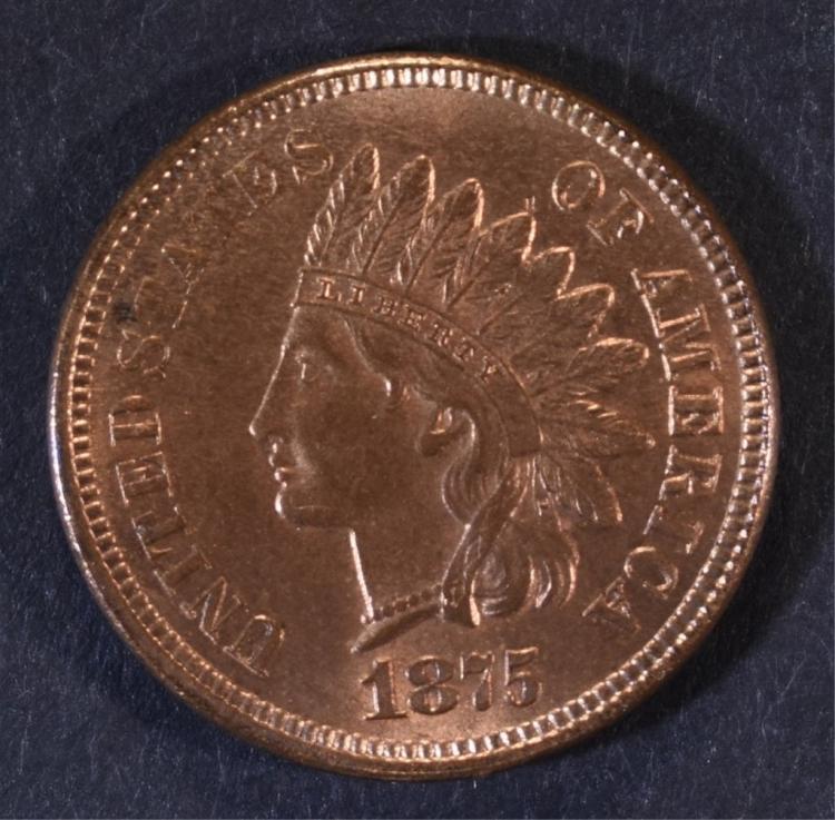 1875 INDIAN HEAD CENT GEM BU